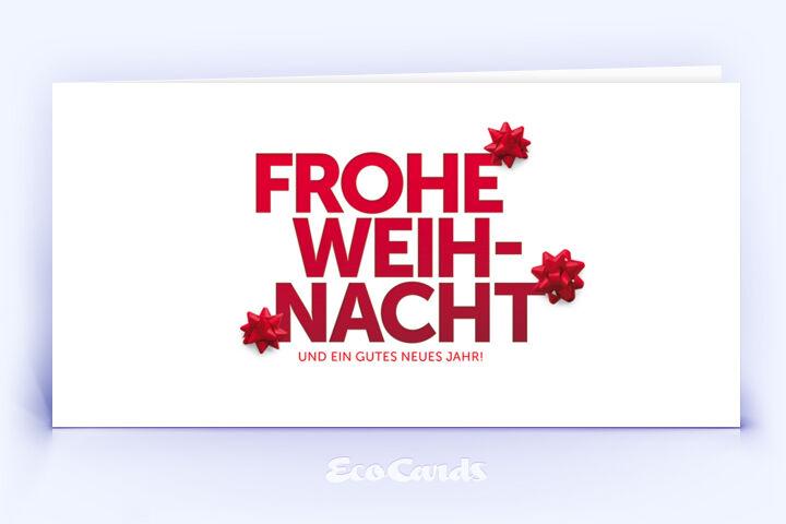 Öko Weihnachtskarte Nr. 1256 rot mit typografisch gestaltetem Layout ist mit einem schlichten Motiv versehen.