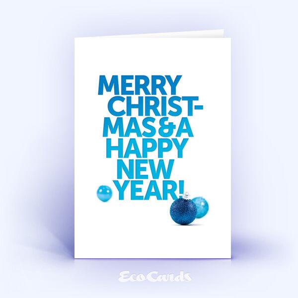 Öko Weihnachtskarten Nr. 1261 blau mit Weihnachtskugeln sind mit einem klassischen Design versehen.