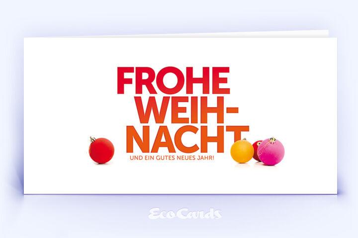Öko Weihnachtskarte Nr. 1264 orange mit Weihnachtskugeln ist mit einem kreativen Kartenmotiv versehen.