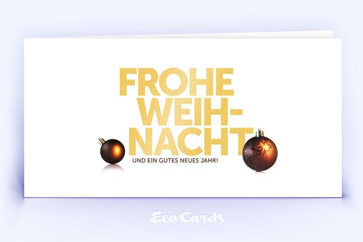 Öko Weihnachtskarte Nr. 1268 gold mit mehreren Weihnachtskugeln zeigt ein exklusives Design.