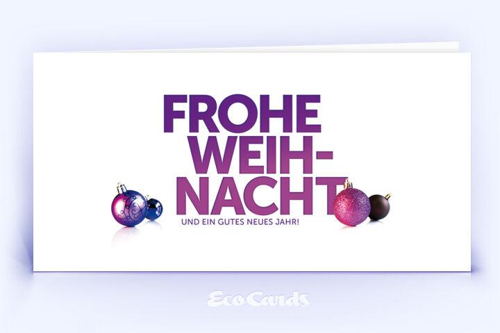 Öko Weihnachtskarte Nr. 1270 violett mit Christbaumkugeln ist mit einem besonderen Kartendesign versehen.