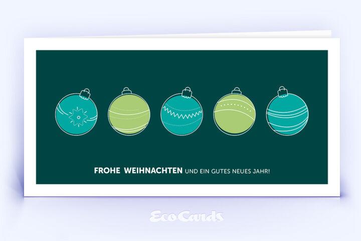 weihnachtskarte 1276 gruen mit christbaumkugeln. Black Bedroom Furniture Sets. Home Design Ideas