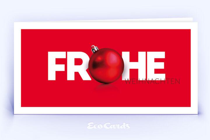 Weihnachtskarte Nr. 128 rot mit Weihnachtskugel