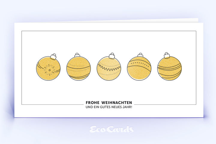 Öko Weihnachtskarte Nr. 1280 gold mit mehreren Christbaumkugeln ist mit einem exklusiven Kartendesign versehen.