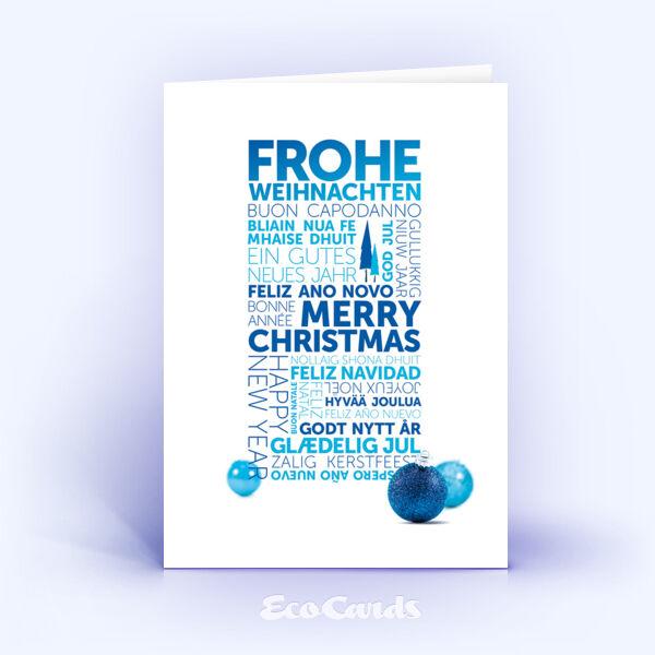 Öko Weihnachtskarten Nr. 1295 blau mit Word-Cloud zeigen ein modernes Karten-Design.