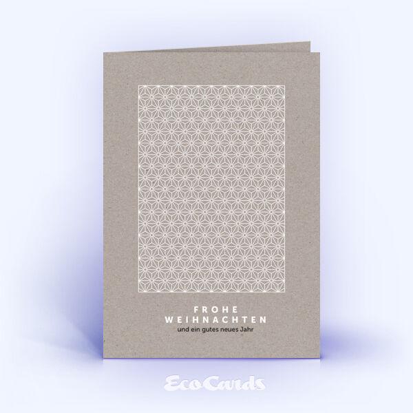 Öko Weihnachtskarten Nr. 1327 grau mit Sternen-Muster zeigen ein ausgefallenes Design.