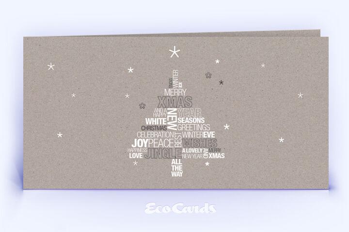 Öko Weihnachtskarte Nr. 1340 grau mit Word-Cloud zeigt ein kreatives Kartenmotiv.