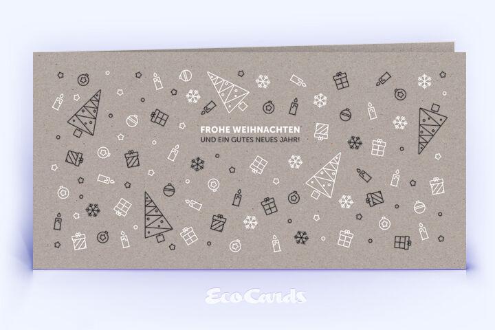 Öko Weihnachtskarte Nr. 1342 grau mit Illustration zeigt ein modernes Design.