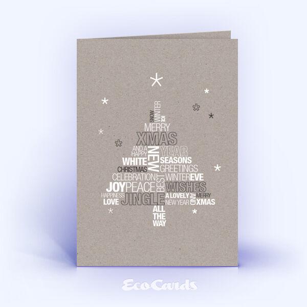 Öko Weihnachtskarten Nr. 1345 grau mit einer Word-Cloud sind mit einem kreativen Design versehen.