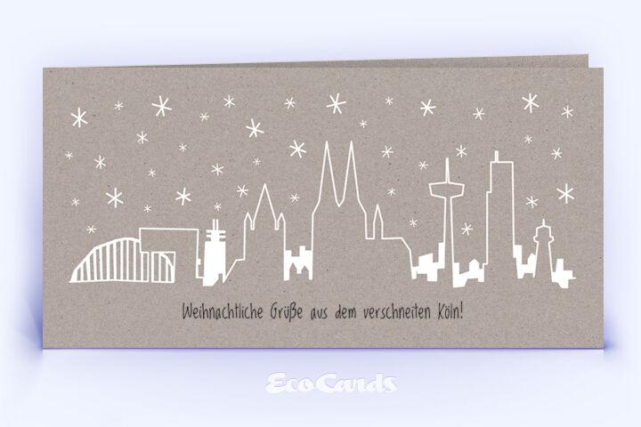 Öko Weihnachtskarte Nr. 1348 grau mit der kölner Silhouette zeigt ein kreatives Karten-Design.