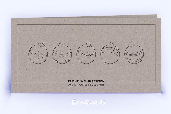 Öko Weihnachtskarte Nr. 1350 grau mit Christbaumkugeln zeigt ein exklusives Kartenmotiv.