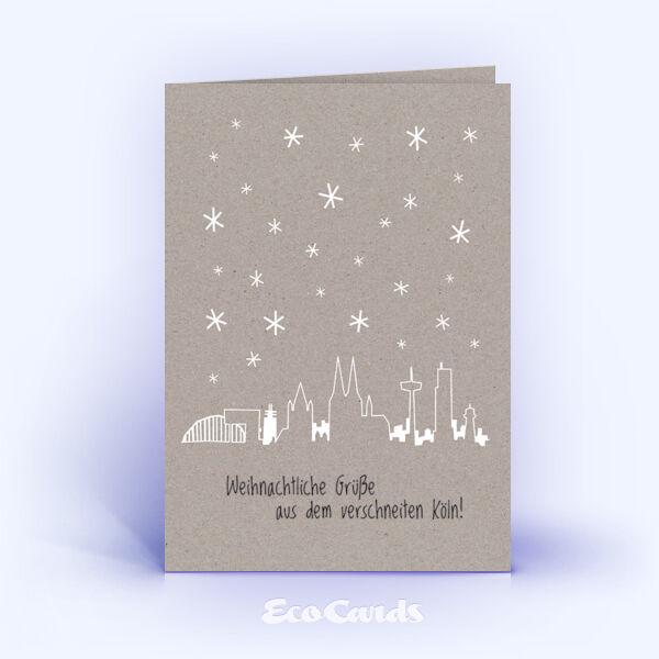 Öko Weihnachtskarten Nr. 1353 grau mit der kölner Skyline zeigen ein modernes Karten-Design.
