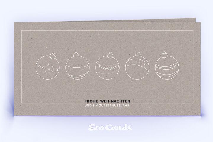 Weihnachtskarte 1354 grau mit christbaumkugeln - Christbaumkugeln grau ...
