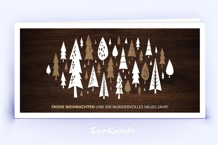 Öko Weihnachtskarte Nr. 1368 braun mit mehreren Weihnachtsbäumen zeigt ein individuelles Weihnachtsmotiv.