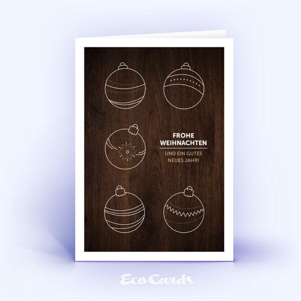 Öko Weihnachtskarten Nr. 1369 braun mit aufgedruckter Holzmaserung zeigen ein besonderes Design.