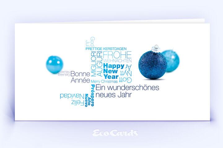 Öko Weihnachtskarte Nr. 1370 blau mit einer Wort-Wolke ist mit einem modernen Kartenmotiv versehen.