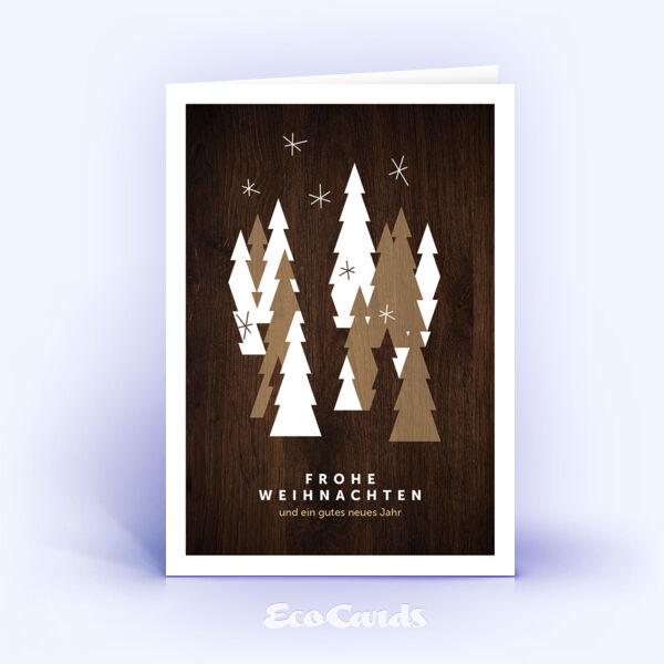 Öko Weihnachtskarten Nr. 1373 braun mit aufgedrucktem Holzfurnier zeigen ein ausgefallenes Weihnachtsmotiv.