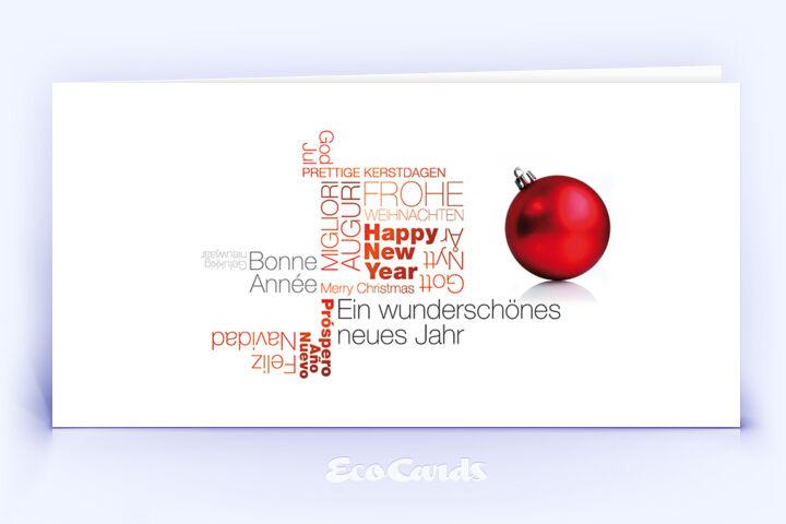 Öko Weihnachtskarte Nr. 1374 rot mit Wort-Wolke zeigt eine stilvolle Gestaltung.