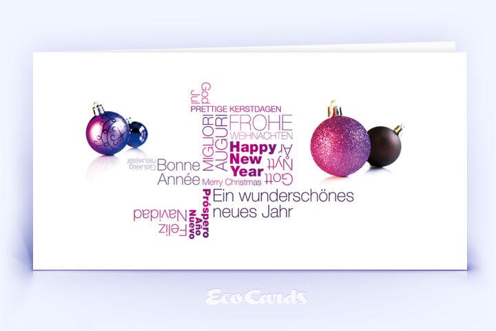 Öko Weihnachtskarte Nr. 1376 violett mit Christbaumkugeln ist mit einem schlichten Design versehen.