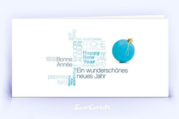 Öko Weihnachtskarte Nr. 1380 hellblau mit Word Cloud zeigt ein individuelles Kartenmotiv.
