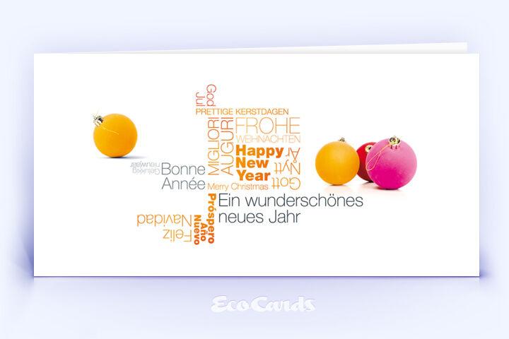 Öko Weihnachtskarte Nr. 1384 orange mit einer Wort-Wolke zeigt ein besonderes Design.
