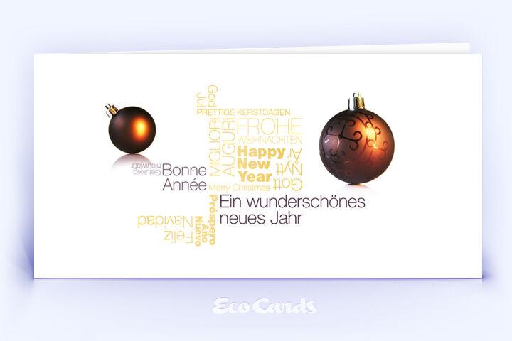 Öko Weihnachtskarte Nr. 1386 gold mit einer Wort-Wolke zeigt eine exklusive Gestaltung.