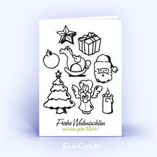 Öko Weihnachtskarten Nr. 139 weiss mit handgezeichneter Illustration sind mit einem verspielten Design bedruckt.