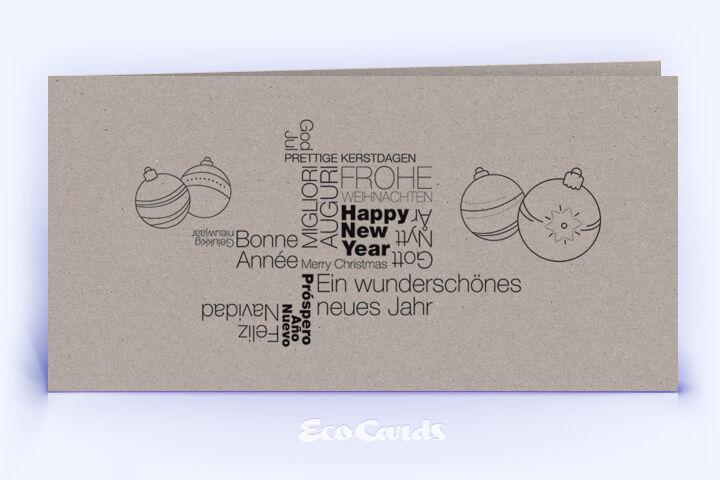 Öko Weihnachtskarte Nr. 1392 grau mit Wortwolke zeigt eine moderne Gestaltung.