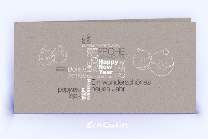 Öko Weihnachtskarte Nr. 1394 grau mit einer Wortwolke ist mit einem ausgefallenen Motiv versehen.