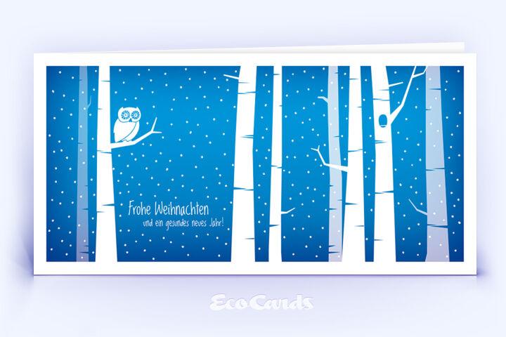 Öko Weihnachtskarte Nr. 1396 blau mit Illustration einer Eule zeigt eine ausgefallene Gestaltung.