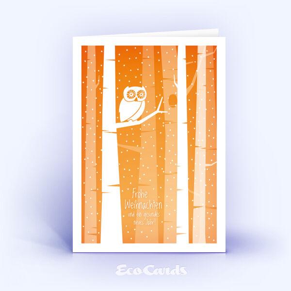 Öko Weihnachtskarten Nr. 1397 orange mit einer Eule sind mit einem verspielten Motiv versehen.