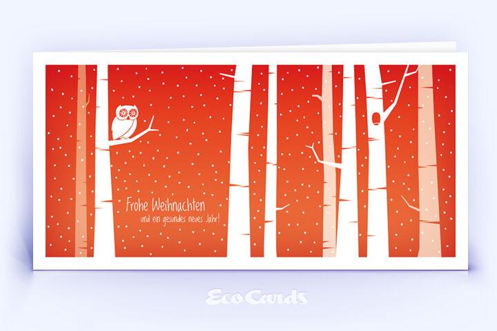 Öko Weihnachtskarte Nr. 1398 rot mit Illustration einer Eule zeigt ein verspieltes Motiv.