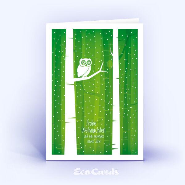 Öko Weihnachtskarten Nr. 1399 gruen mit einer Eule zeigen ein ausgefallenes Karten-Design.