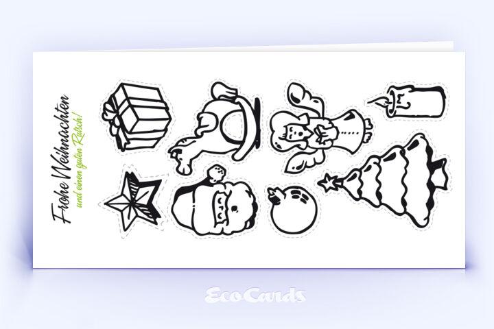 Öko Weihnachtskarte Nr. 140 weiss mit Bilderrätsel ist mit einem verspielten Design verziert.