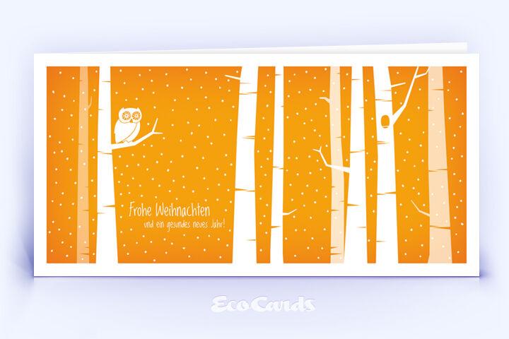 Öko Weihnachtskarte Nr. 1400 orange mit einer Eule ist mit einem schönen Kartendesign versehen.