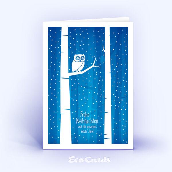 Öko Weihnachtskarten Nr. 1401 dunkelblau mit einer Eule im Motiv sind mit einem festlichen Motiv versehen.