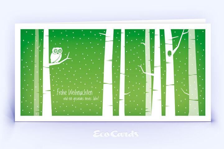 Öko Weihnachtskarte Nr. 1402 gruen mit Illustration einer Eule ist mit einem exklusiven Kartendesign versehen.
