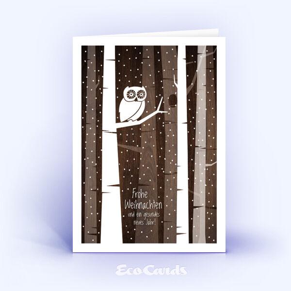 Öko Weihnachtskarten Nr. 1403 braun mit aufgedruckter Holzstruktur zeigen ein originelles Kartenmotiv.