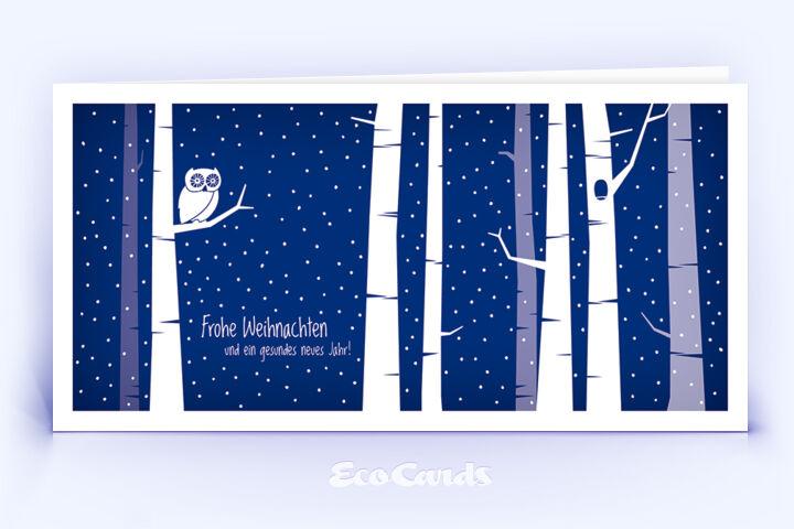 Öko Weihnachtskarte Nr. 1404 dunkelblau mit einer Eule im Design zeigt ein originelles Kartenmotiv.
