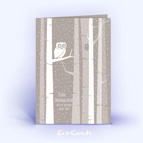 Öko Weihnachtskarten Nr. 1405 grau mit Illustration einer Eule zeigen eine individuelle Gestaltung.
