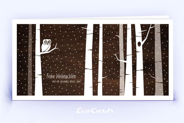 Öko Weihnachtskarte Nr. 1406 braun mit einer aufgedruckten Holztextur zeigt eine besondere Gestaltung.
