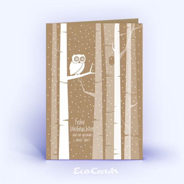Öko Weihnachtskarten Nr. 1407 braun mit einer Eule im Design zeigen eine besondere Gestaltung.