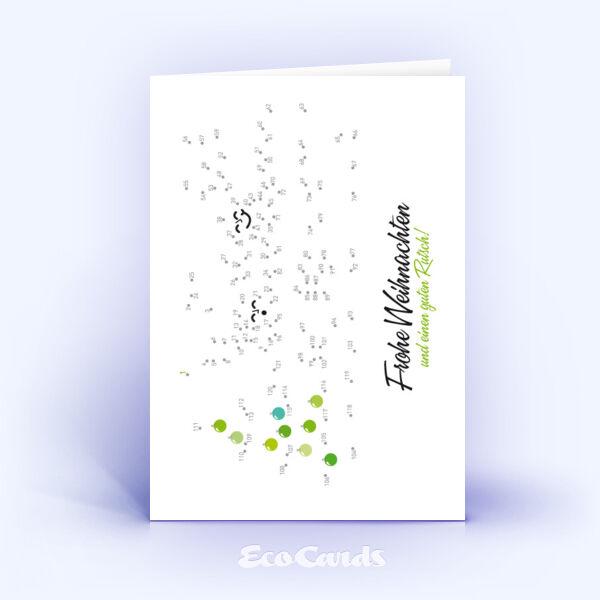 Öko Weihnachtskarten Nr. 141 weiss mit lustigem Denkspiel zeigen ein verspieltes Kartenmotiv.