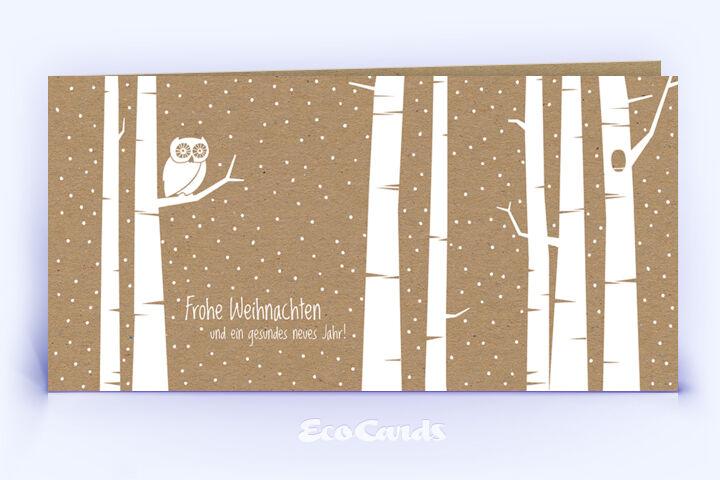 Öko Weihnachtskarte Nr. 1410 braun mit einer Eule im Design zeigt ein edles Design.