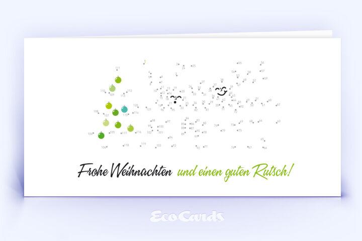 Öko Weihnachtskarte Nr. 142 weiss mit einem originellen Weihnachtsrätsel zeigt ein verspieltes Kartenmotiv.