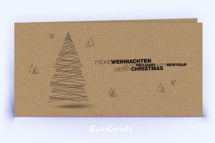 Öko Weihnachtskarte Nr. 1426 braun mit Weihnachtsbaum ist mit einem schlichten Kartenmotiv versehen.