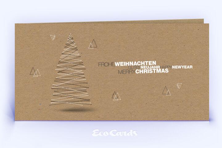 Öko Weihnachtskarte Nr. 1428 braun mit einem Weihnachtsbaum zeigt eine individuelle Gestaltung.