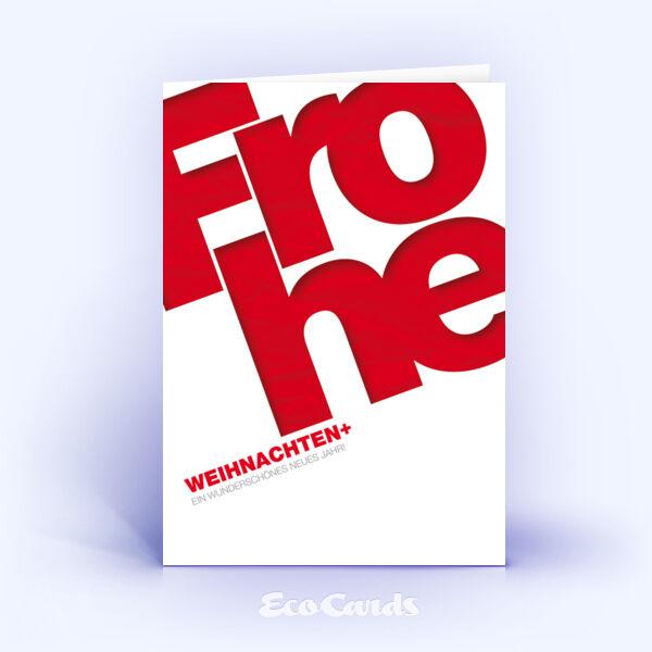Öko Weihnachtskarten Nr. 143 rot mit einem typografischem Design zeigen ein exklusives Motiv.