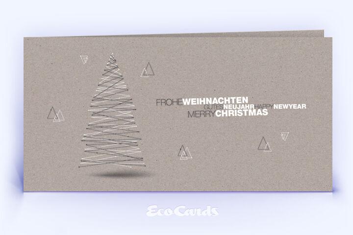 Öko Weihnachtskarte Nr. 1430 grau mit Weihnachtsbaum zeigt ein exklusives Weihnachtsdesign.