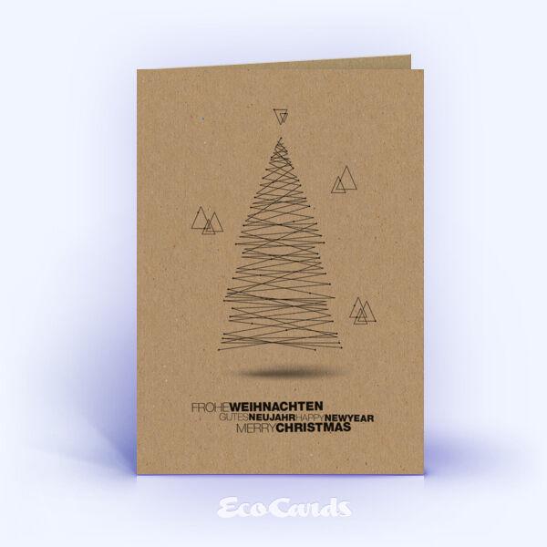 Öko Weihnachtskarten Nr. 1431 braun mit Christbaum zeigen ein individuelles Motiv.